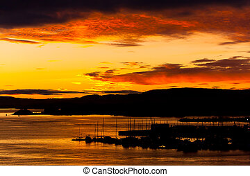 Cloudy orange sunset
