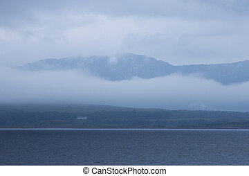 cloudy scottish mountain landscape with water