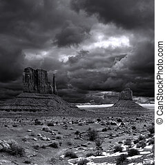 Cloudy Skies Monument Valley - Black and White Monument...