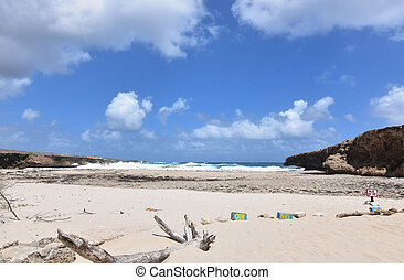 Lovely cloudy skies over Andicuri Beach in Aruba.