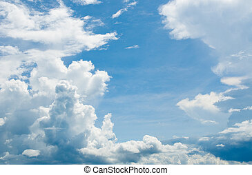 cloudy sky background - white clouds over deep blue sky...