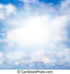 Illustration of blue sky with sun, sunbeams and clouds