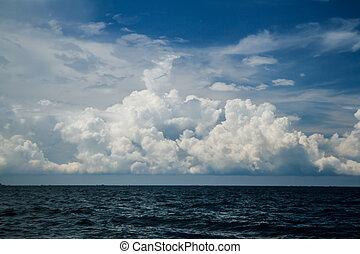 Cloudy sky in the sea