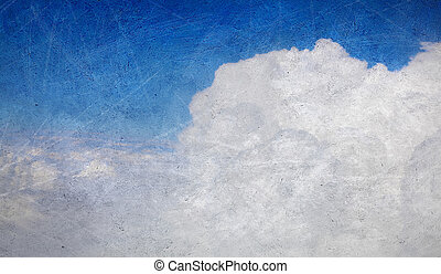 Old painting with cloudy blue sky as a background