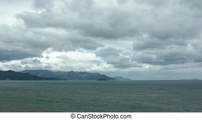 Cloudy Sky over a Tropical Seascape in Vietnam. 1080p...