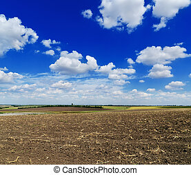 cloudy sky over black field after harvesting