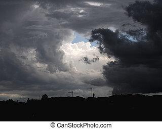 cloudy sky over city skyline