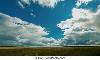 Cloudy sky over field. Cumulus clouds, sun, rain.