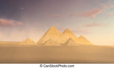 Cloudy sky over Great Pyramids of Giza at dusk 4K - Scenic...