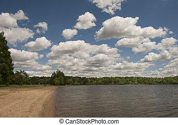 Cloudy sky over lake