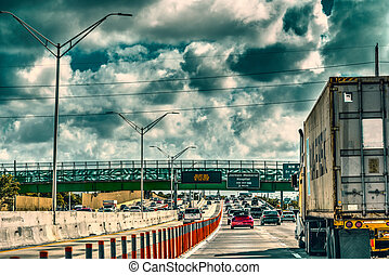 Cloudy sky over the highway in Miami