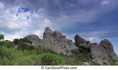 Cloudy sky over the mountains Karaul Oba. Noviy Svet, Crimea, Ukraine