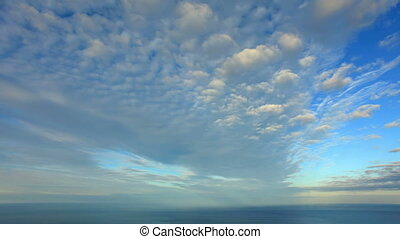 Cloudy sky over the sea,(Time Lapse