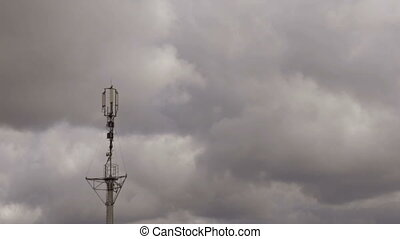 Cloudy sky overcast - Large gray clouds covered the sky,...