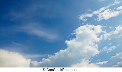 cloudy sky - timelapse of blue sky and white clouds