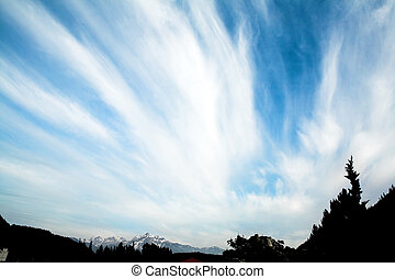 cloudy sky - wide angle view of cloudy sky in harrisson hot...