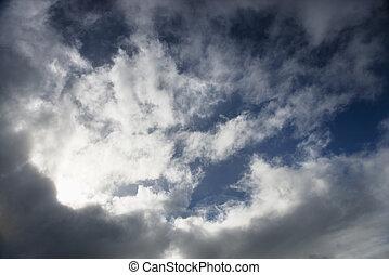 Cloudy sky. - Clouds in blue sky.