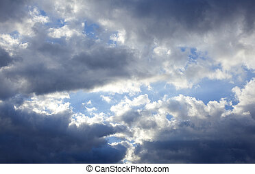 Cloudy sky - View of Cloudy sky with sun behind