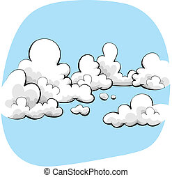 Cloudy Sky - Cartoon sky with soft, friendly clouds.