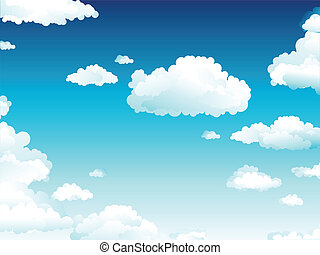 Cloudy Sky - Vector illustration of the sky covered by white...