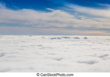 Cloudy sky with horizon, aerial photography.