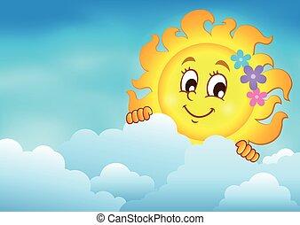 Cloudy sky with lurking sun