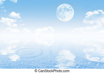 Cloudy sky with moon and sea