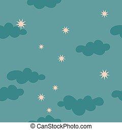 Cloudy starry night sky seamless pattern