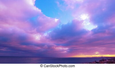 Cloudy Sunset Sky over the Sea.