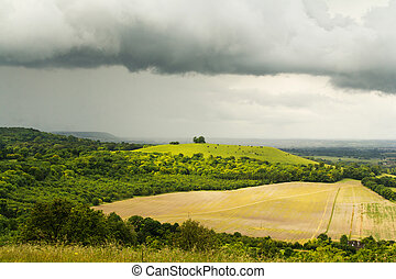 Cloudy view over the Chilterns in Buckinghamshire, England