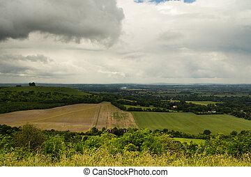 Cloudy view over the Chilterns in Buckinghamshire