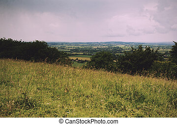 Cloudy view over the Chilterns in Buckinghamshire Vintage...