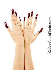 clous, acrylique, deux, long, mains