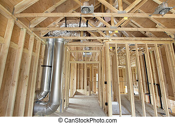 clous, bois, encadré, construction, nouvelle maison