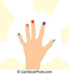 clous, coloré, main