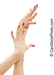 clous, deux, rouges, mains
