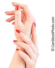 clous, femme, rouges, mains