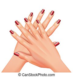 clous, isolé, illustration, vecteur, manucure, mains, blanc rouge