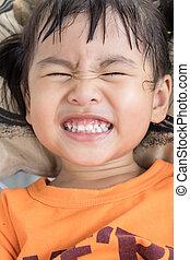 clouse, 美しい, よい, いつか, o, 顔, 健康, 白, 子供, 歯, の上