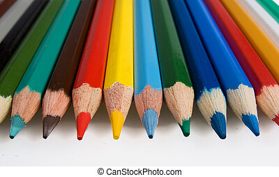 Clouse-up of group of color pencils