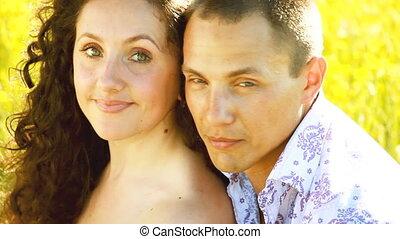 Clouse-up portrait of a couple