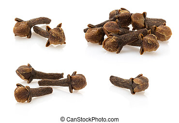 clove spices on white background