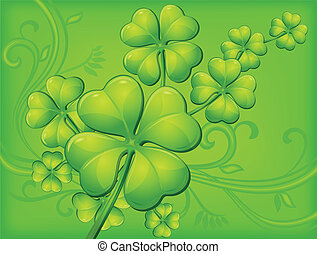 Clover bacground - Clover background in green, vector...