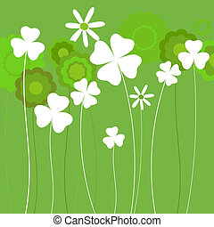 clover background - clover and spring flowers background