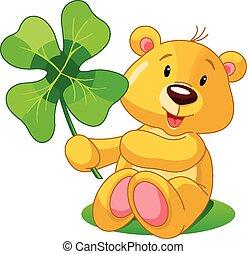 Clover bear - Cute bear holding clover. St. Patrick's Day...