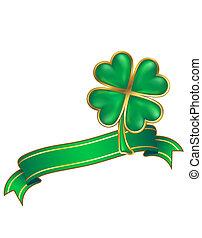 clover design; shiny four leaf clover and scroll