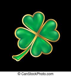 clover design; shiny four leaf clover with golden border