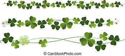 Shamrocks Clovers Dividers. St.Patric Day. Using Clipping mask, transparency, gradation. EPS10.