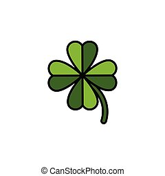 Clover. Filled color icon. Nature vector illustration - ...