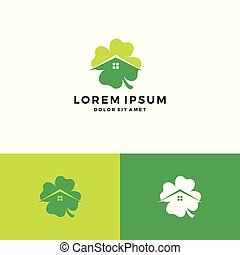clover house home leaf four logo vector download